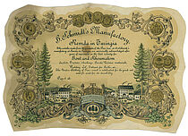 Urkunde über Produkte aus der Glasfabrik in Remda für den Export nach Amerika
